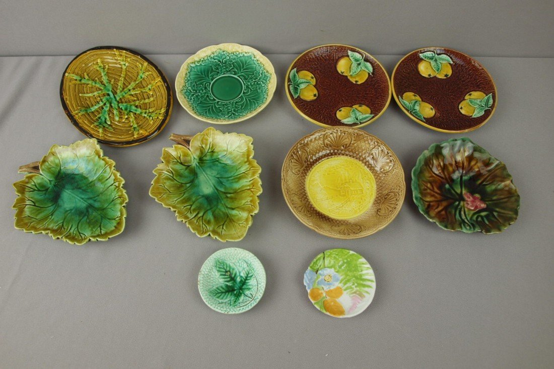 69:  Majolica lot of 10 small plates, trays and butter