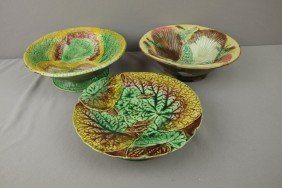 Majolica Lot Of 3 Bowls And Comports, Various Cond