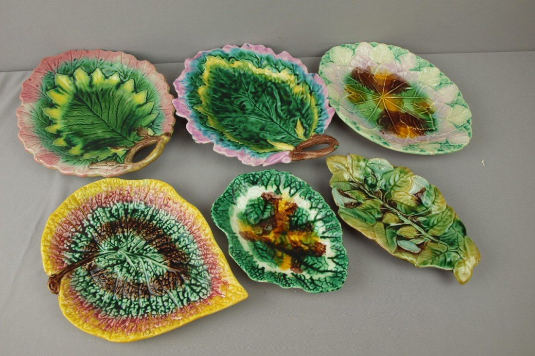 73:  Majolica lot of 6 leaf trays, various condition