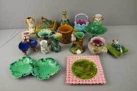 Majolica Lot Of 17 Assorted Items, Various Conditi
