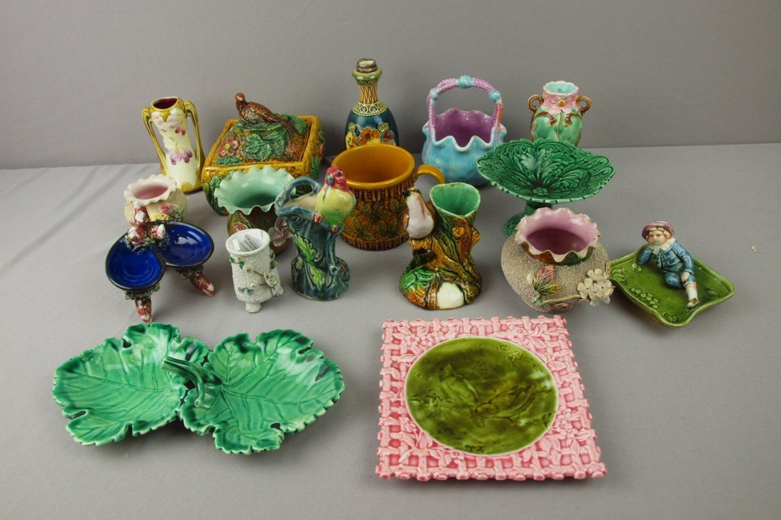 75:  Majolica lot of 17 assorted items, various conditi