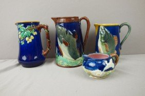 Majolica Lot Of 4 Cobalt Pitchers, Various Conditi