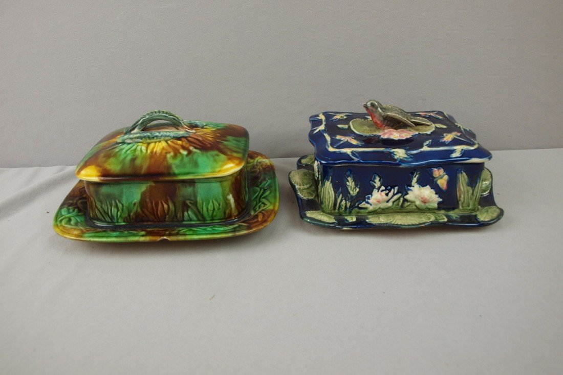 79:  Majolica lot of 2 sardine boxes, one cobalt with b