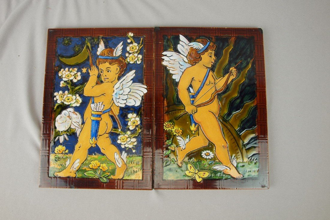 "80:  MINTON pair of tiles, ""Night"" and ""Day"" with cupid"