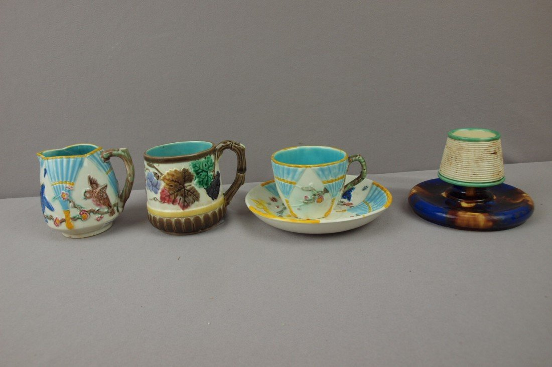 89:  WEDGWOOD lot of 4 items - bird and fan cup/saucer