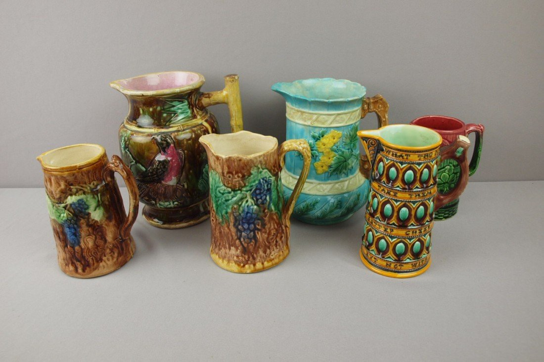 93:  Majolica lot of 6 pitchers, various condition