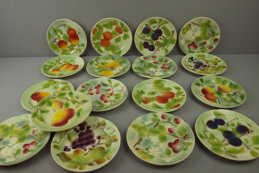 "96:  St. Clement set of 17-8 1/2"" Barbotine majolica fr"