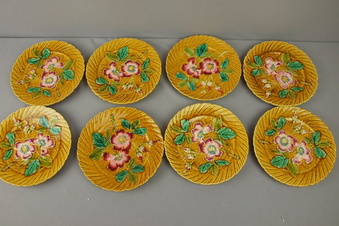 "97:  French set of 8-8"" floral plates, rim chip to one"