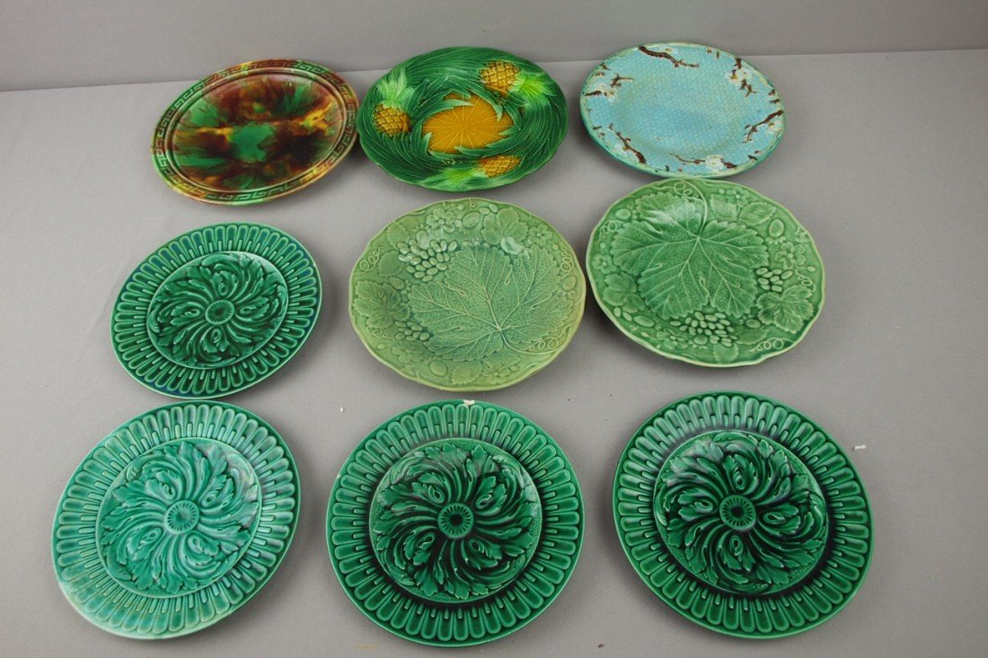 99:  Lot of 9 plates - George Jones pineapple, Holdcrof