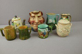 Majolica Lot Of 8 Pieces - 3 Pitchers, Teapot, Su