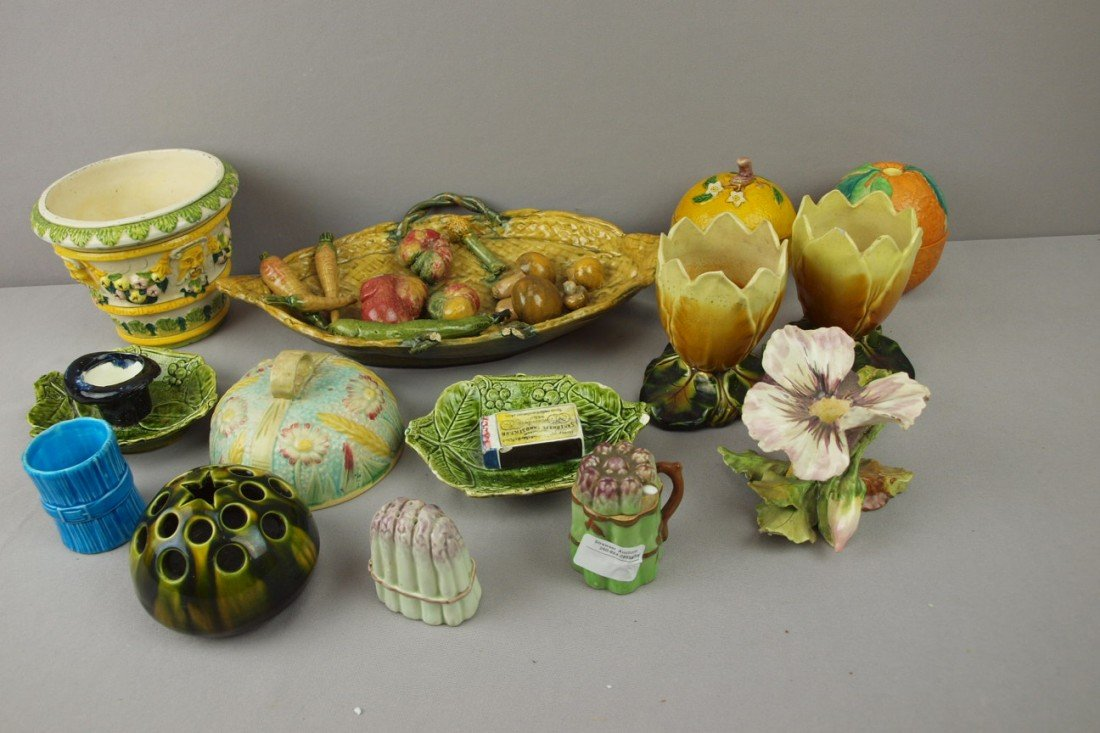 107:  Majolica lot of 14 assorted items, various condit