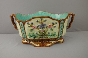 Large French Oval Two Handled Jardiniere With Flo