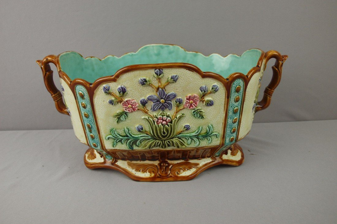 108:  Large French oval two handled jardiniere with flo