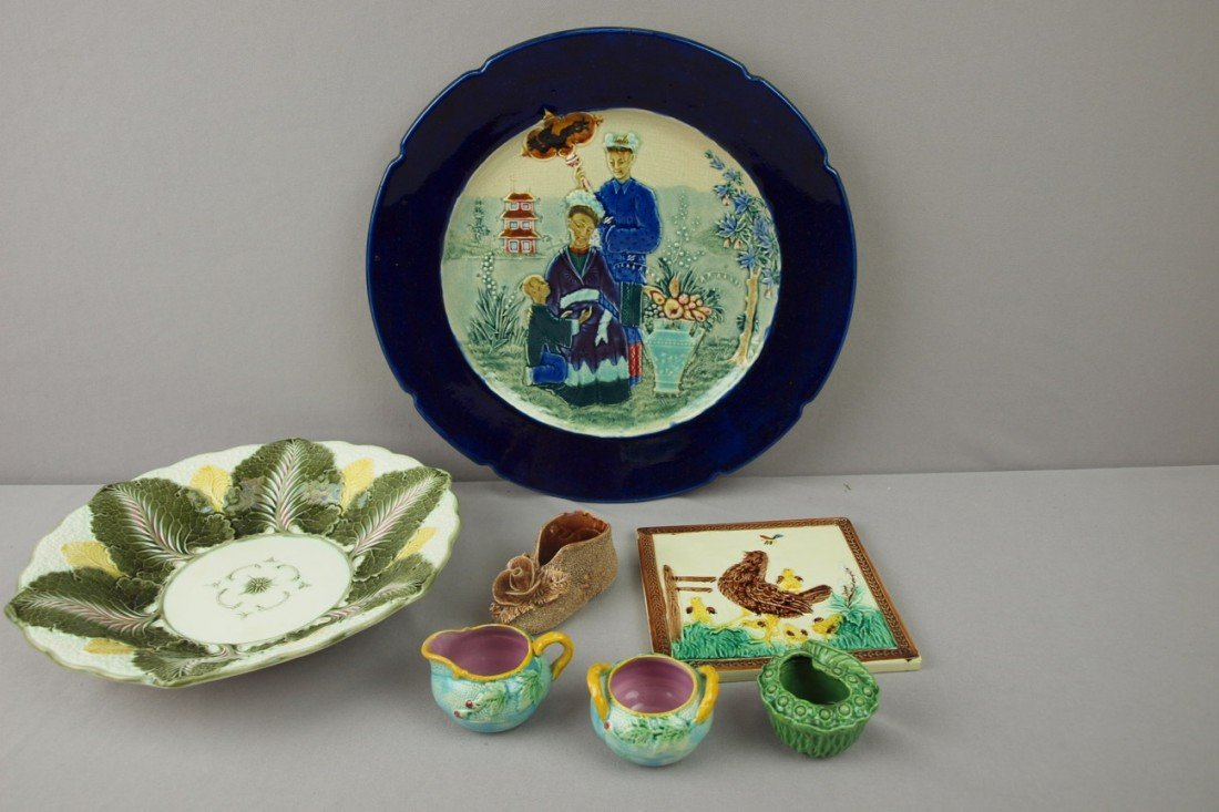 116:  Majolica lot of 7 pieces - Wedgwood cauliflower b