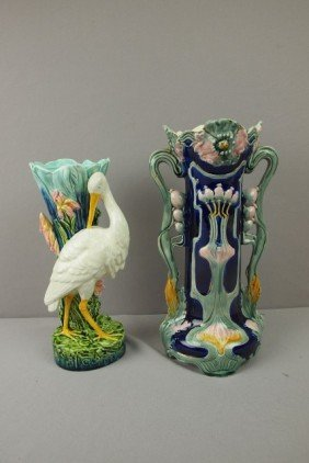 "Continental Majolica Stork Pedestal, 11 1/2"" AND"