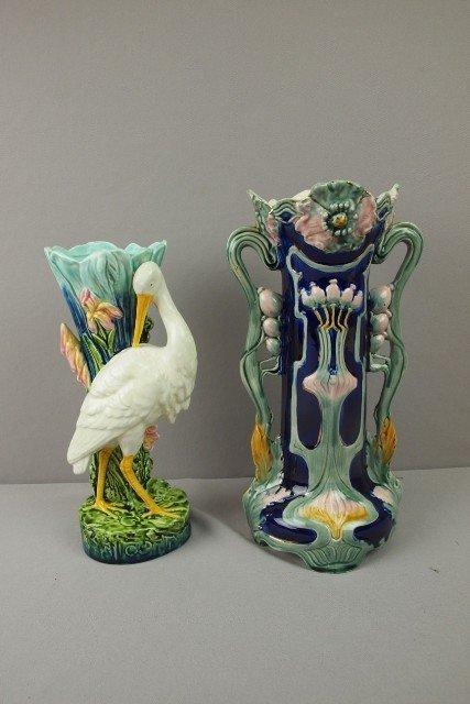 "126:  Continental majolica stork pedestal, 11 1/2"" AND"