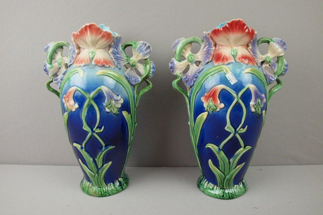 130:  Contemporary pair of majolica style Art Noveau va