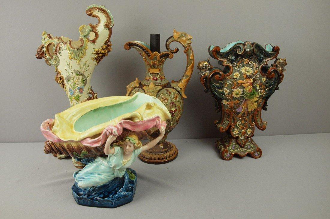 133:  Majolica lot of 4 European items - ewer, 2 vases