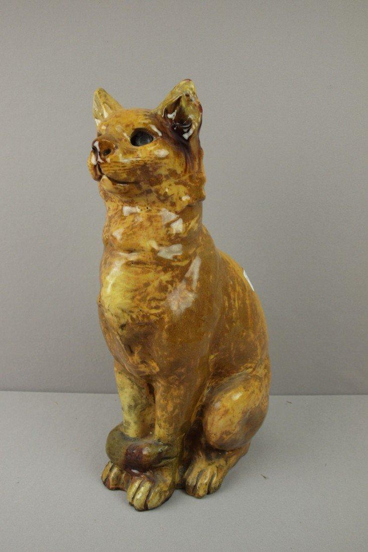134:  Large terra cotta cat with majolica type glaze, m
