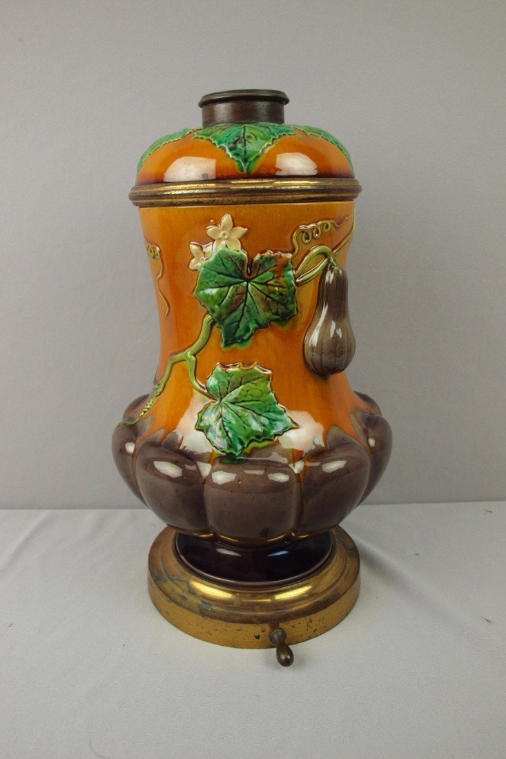 "135:  MINTON egg plant lamp base, 15"""