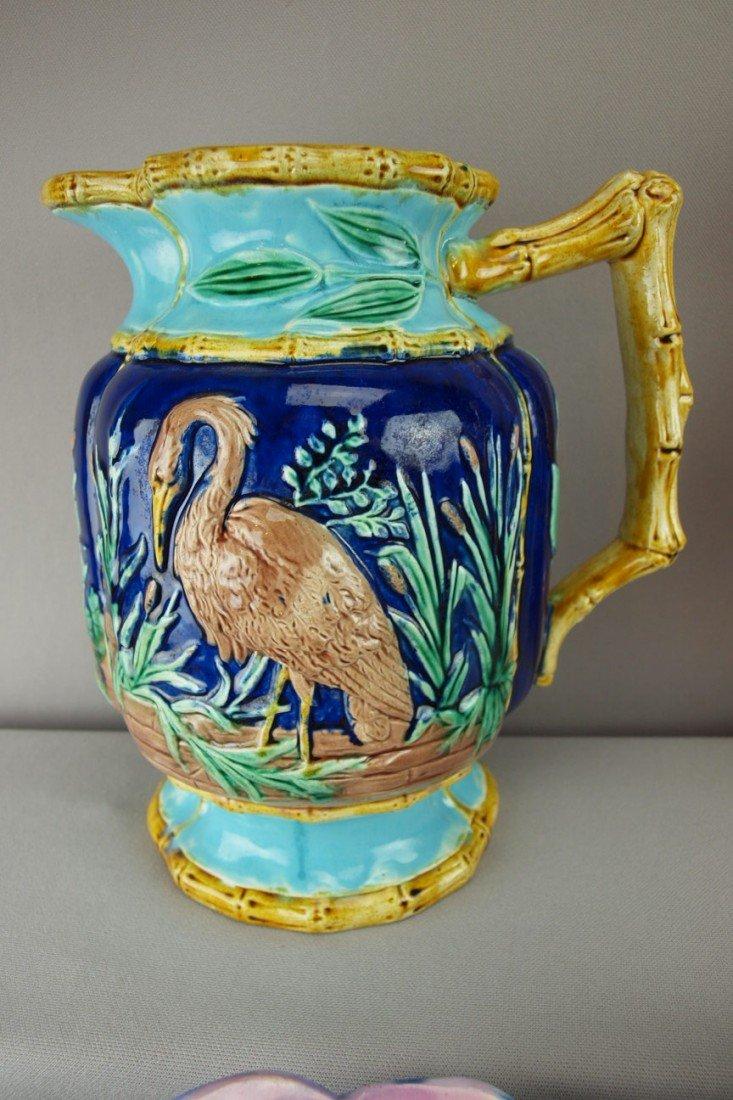 138:  FORESTOR cobalt majolica stork in marsh pitcher w