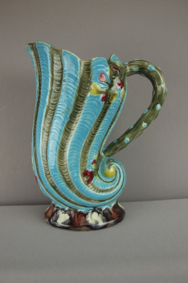 """143:  FIELDING figural shell pitcher, 10"""", hairline"""