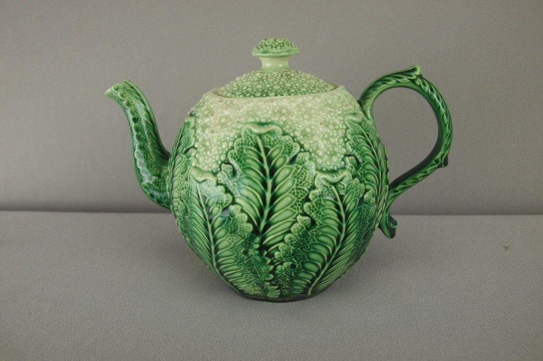 159:  Staffordshire cauliflower teapot with majolica gl