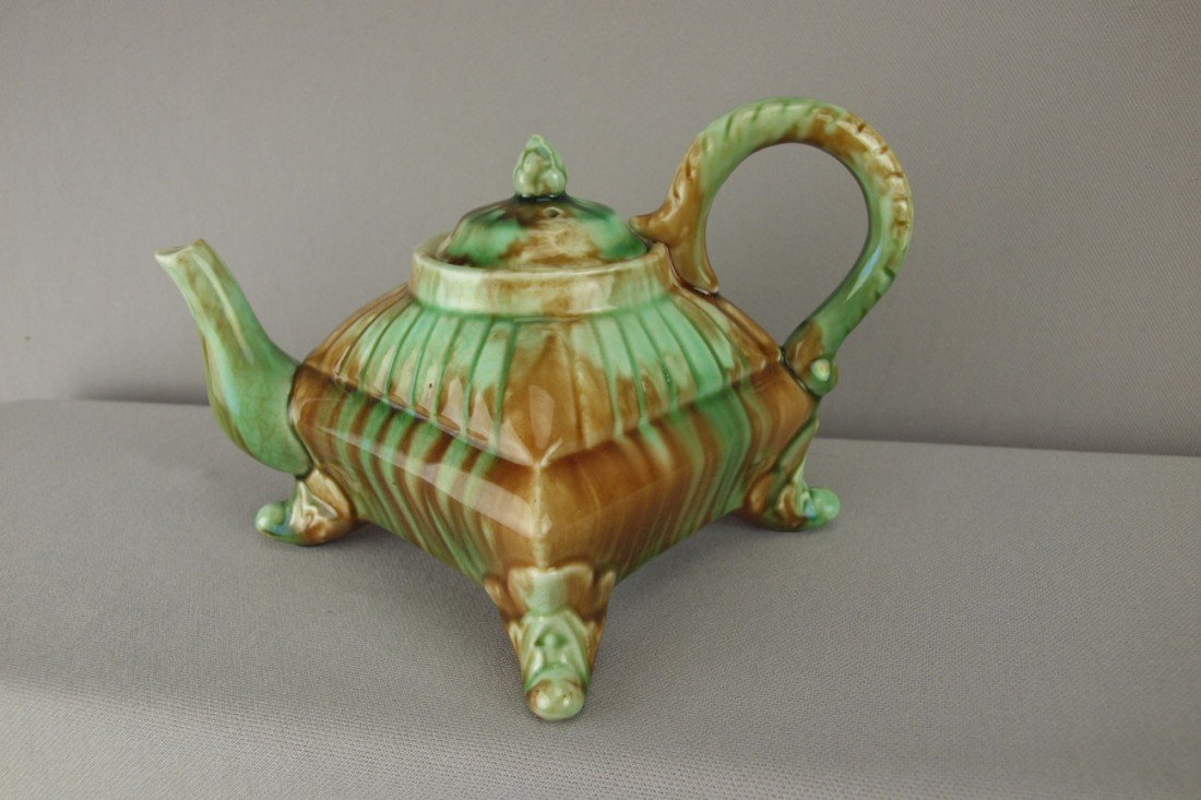 "163:  Majolica unusual square form footed teapot, 5""h"