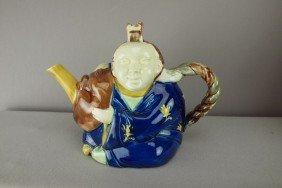 """Majolica Chinaman Figural Teapot, 8 1/2""""l"""