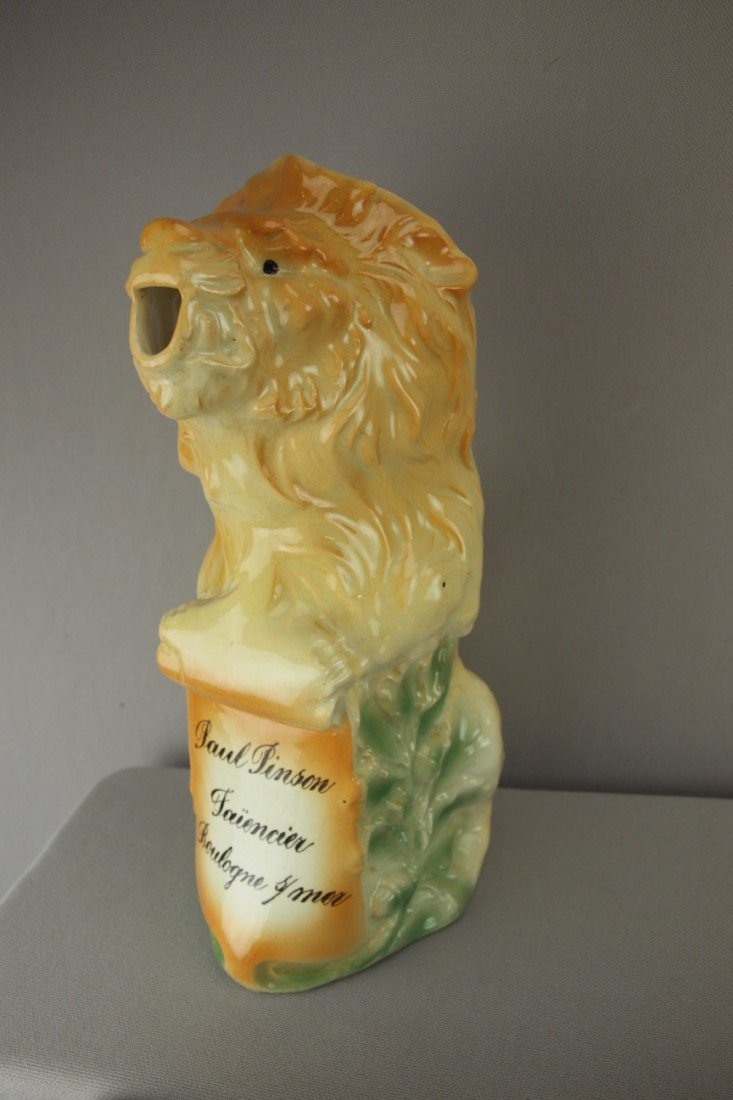 171:  Fives Lille French lion figural pitcher, 10 1/2""