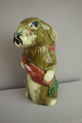 """French Figural Rabbit With Carrot Pitcher, 10"""", R"""