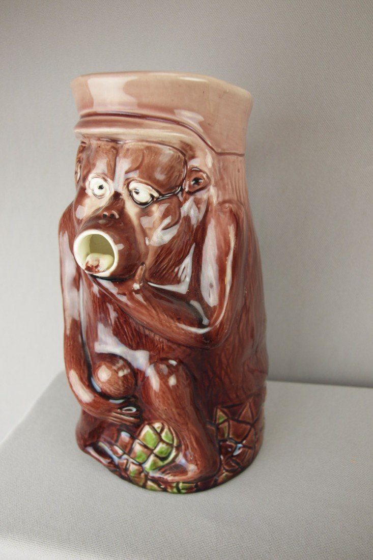 173:  Majolica figural pitcher in the form of a monky w