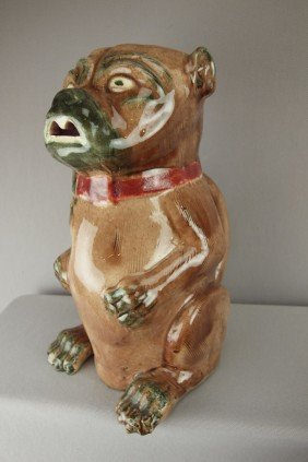 Majolica Pug Dog Figural Pitcher, Chip To Foot, 1
