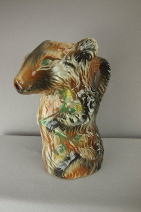 Poet Laval French Majolica Rat Figural Pitcher, 8