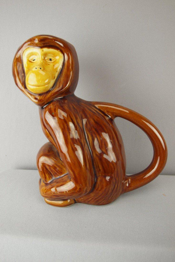 "191:  French majolica figural monkey pitcher, 10"""