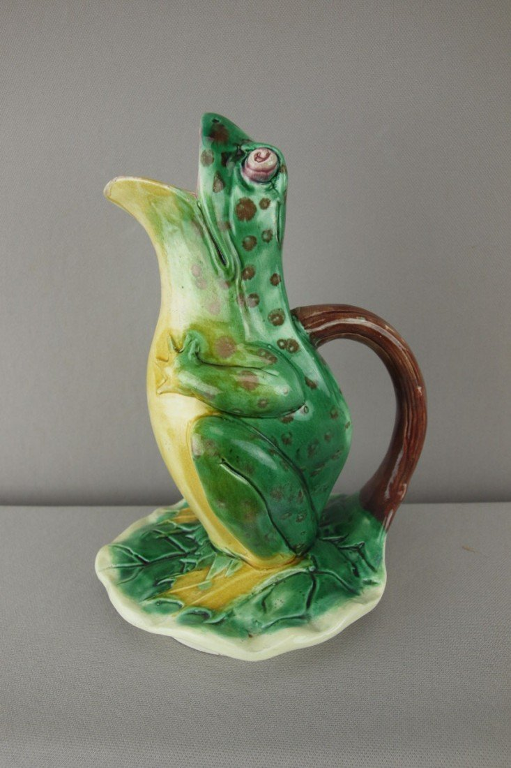 """193:  Steele figural frog on lily pad pitcher, 9"""", prof"""