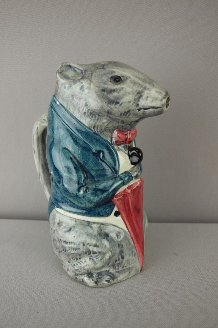 """195:  French majolica rat with umbrella pitcher, 7 3/4"""""""