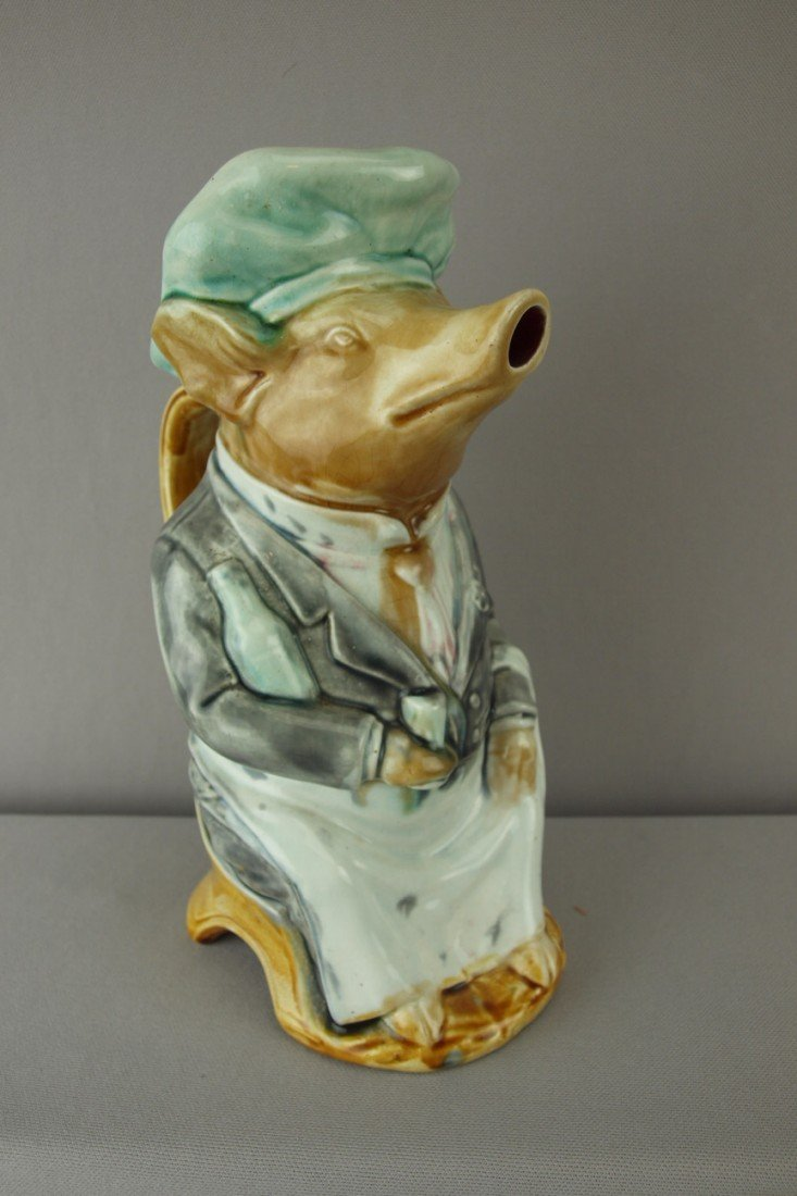"""196:  Onnaing French figural pig waiter pitcher, 10"""""""