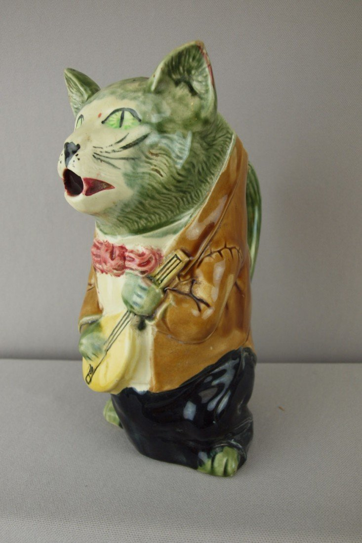 199:  Orchies French majolica figural cat with mandolin