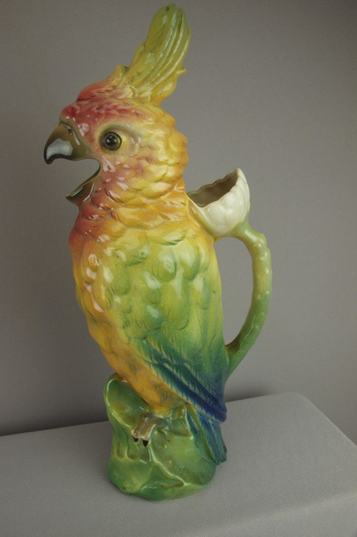 """203:  Large French majolica parrot pitcher, 16"""""""