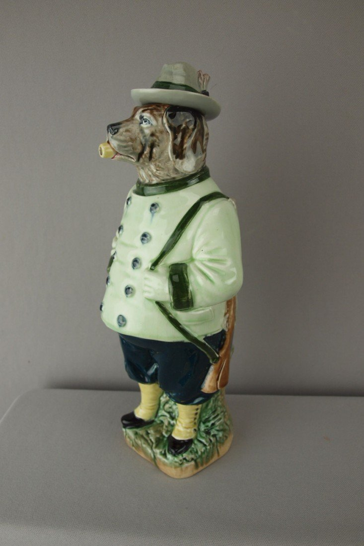 204:  German majolica figural bottle in the form of a d