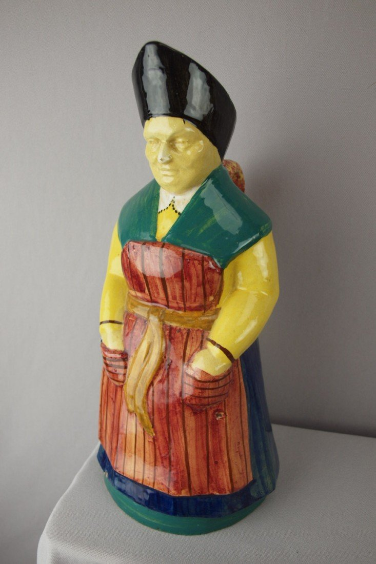 209:  French Tassier rare figural jug of old maid with