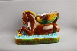 English majolica figural salt of a seahorse with