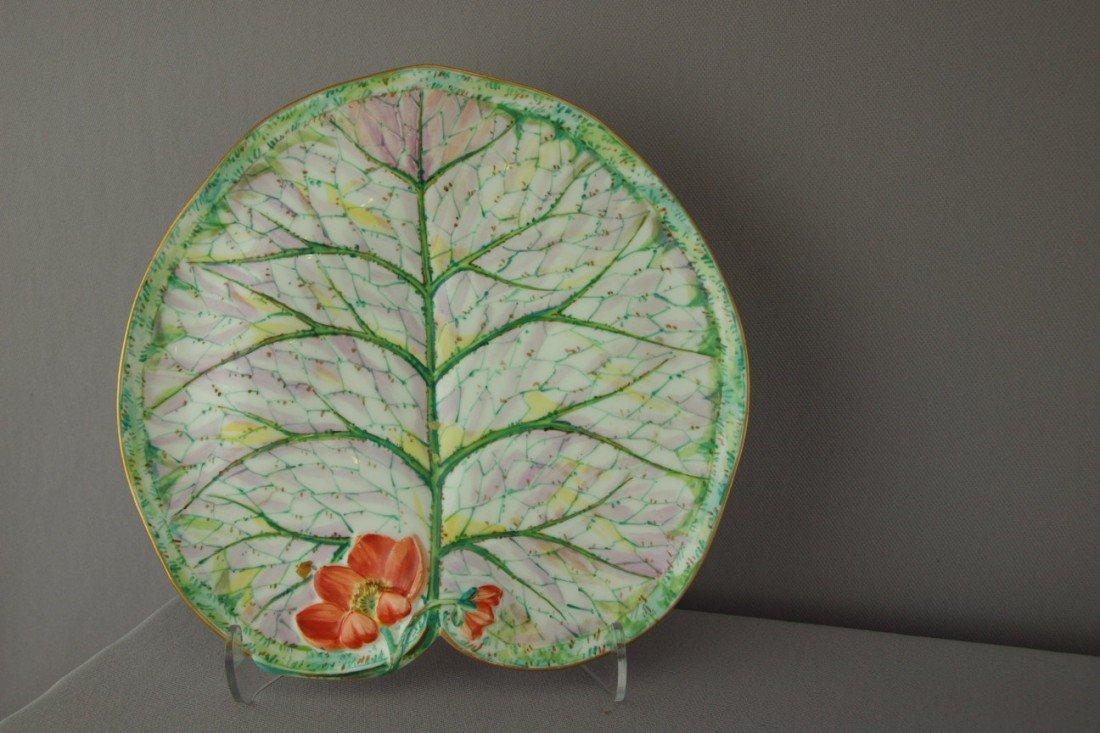 "503:  GEORGE JONES porcelain pond lily plate, 8 3/4"""