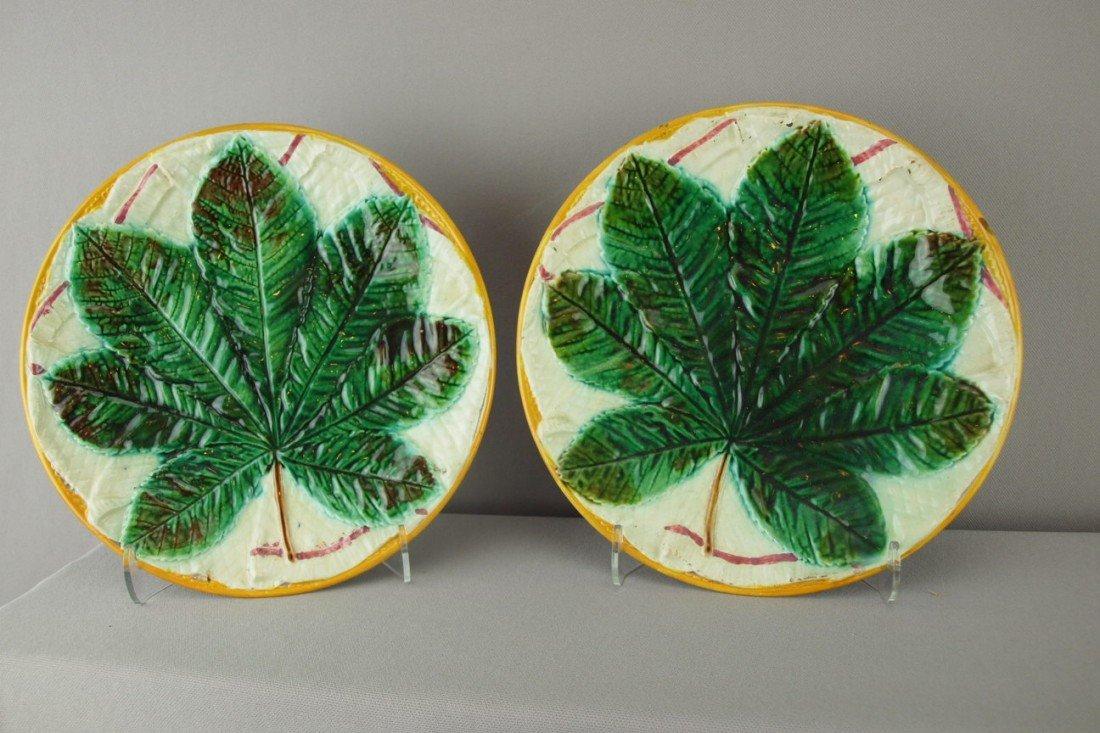 506:  GEORGE JONES majolica pair of chestnut leaf on na