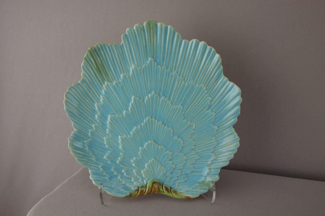 508:  GEORGE JONES shell form turquoise plate, professi