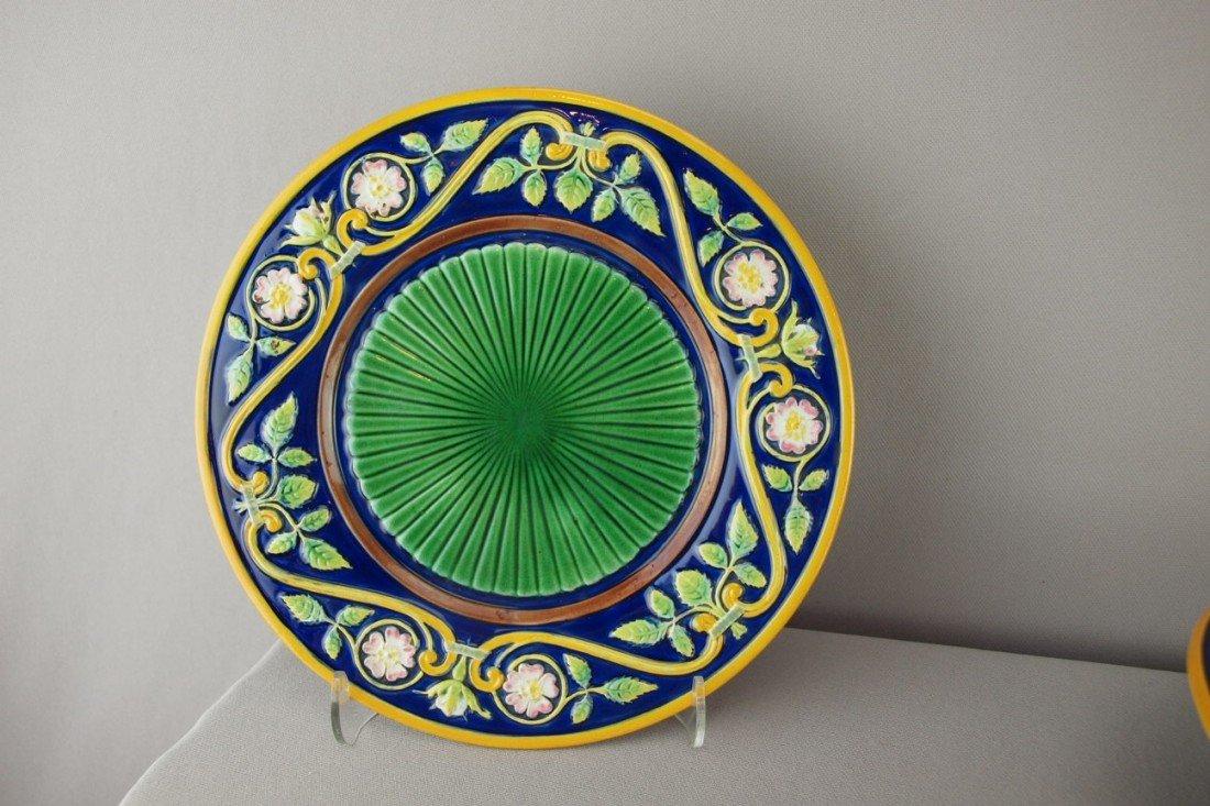 "511:  GEORGE JONES cobalt 9"" plate with floral border a"