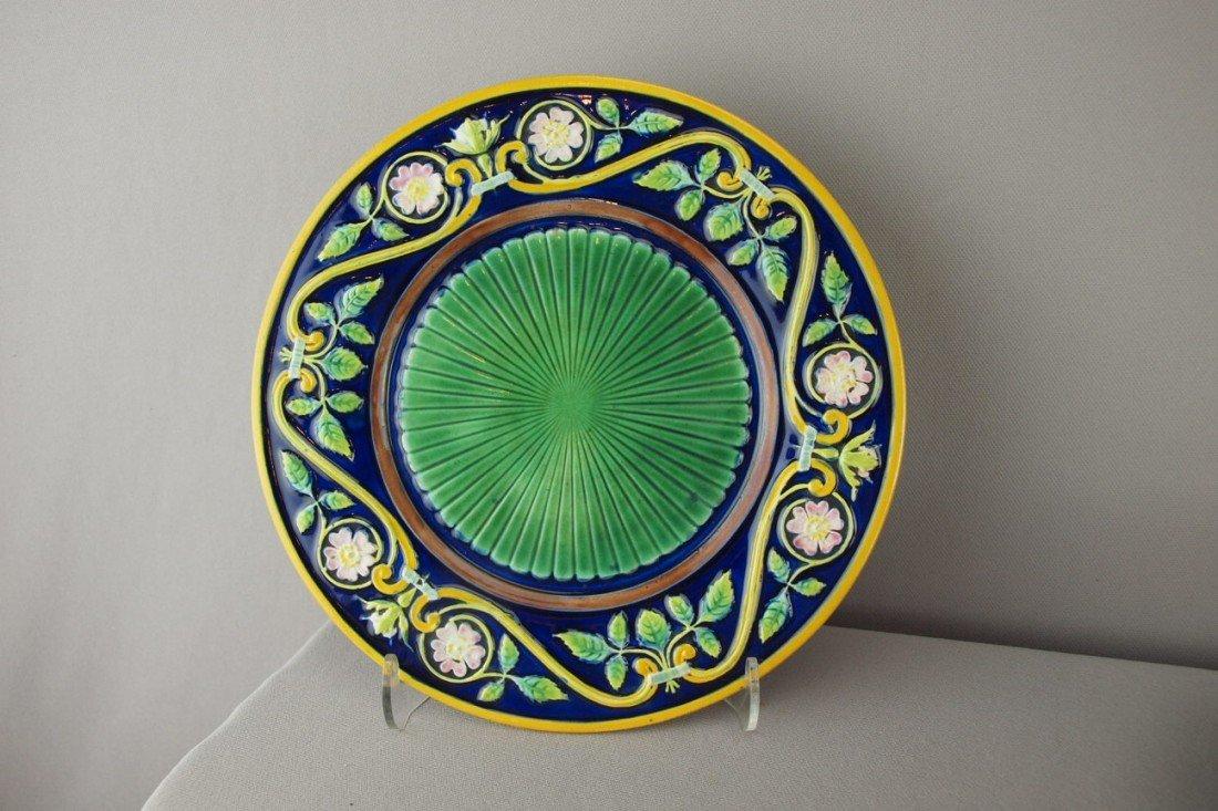 "512:  GEORGE JONES cobalt 9"" plate with floral border a"
