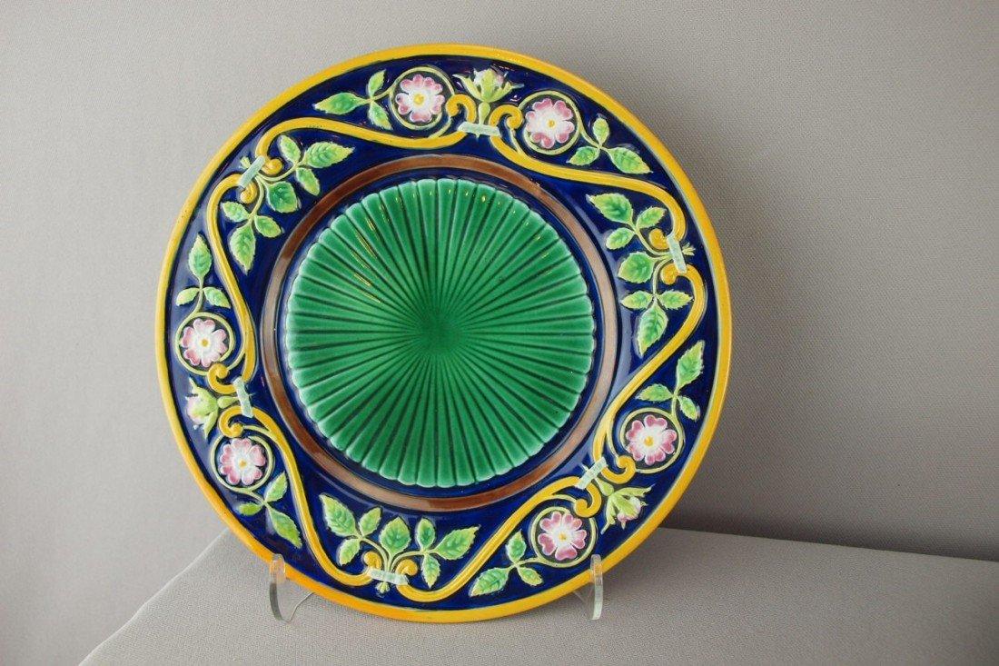 "513:  GEORGE JONES cobalt 9"" plate with floral border a"