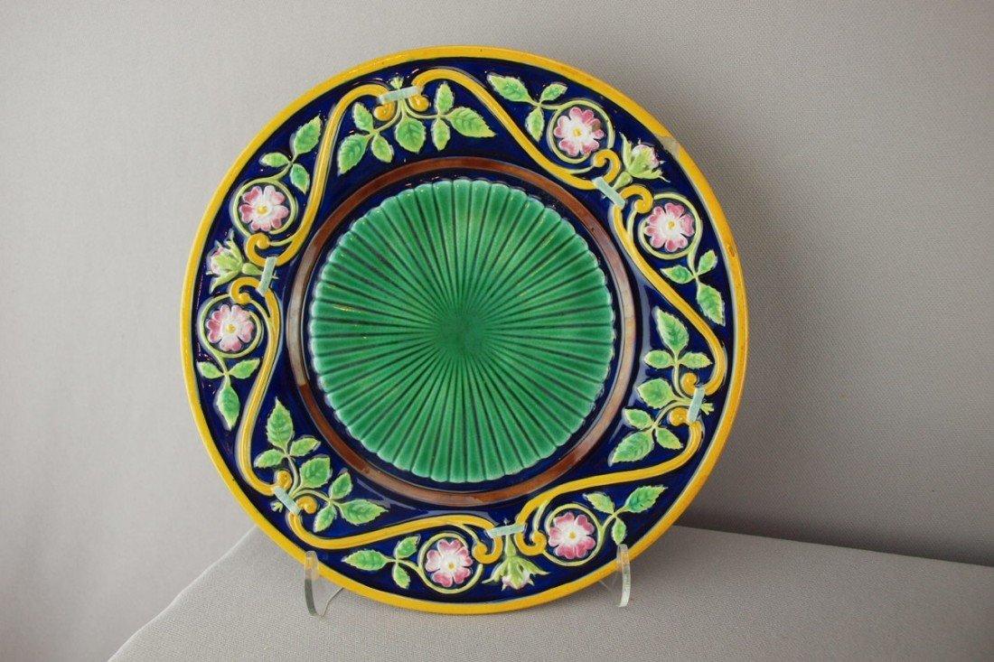 "514:  GEORGE JONES cobalt 9"" plate with floral border a"